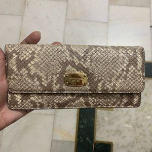 MK Michael Korrs snake skin leather wallet clutch used once